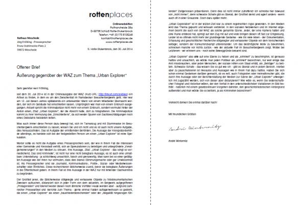 Brief Versenden Layout : Offener brief an pressesprecher der stadt meschede