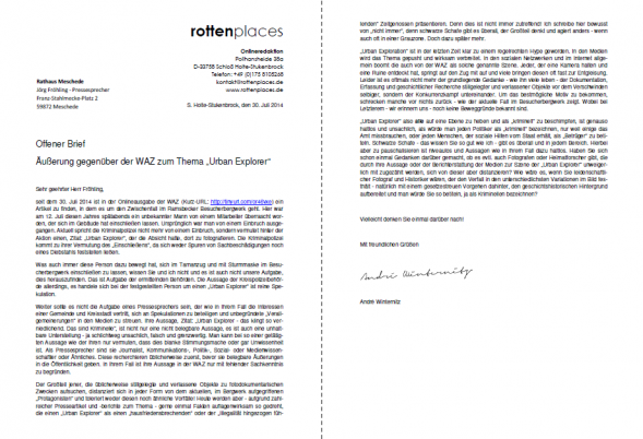 Offener Brief An Pressesprecher Der Stadt Meschede Rottenplacesde